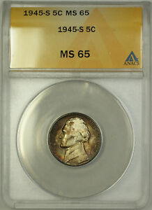 1945-S Wartime Jefferson Silver Nickel 5c Coin ANACS MS-65 Beautiful Toning