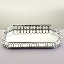 Silver Metal Dressing Table Rectangular Serving Tray with Mirror Glass Base