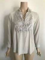 SCANLAN THEODORE Feather Trim Silk Shirt 10