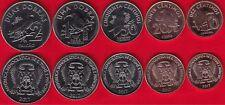 """Sao Tome and Principe set of 5 coins: 10 centimos - 2 dobras 2017 """"Birds"""" UNC"""