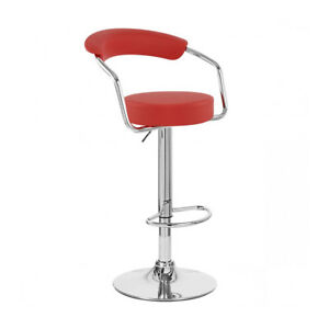 RED CHROME/LEATHER ADJUSTABLE SWIVEL BARSTOOL-BAR/COUNTER STOOL-ZOOL-SET OF 2
