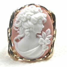 Grecian Goddess Pink Cameo Ring 14K Rolled Gold Jewelry Any Size Resin