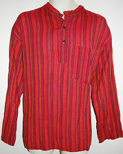 """New Bares Grandad Collarless Shirt XXL chest up to 45"""" Hippy Ethnic Fair Trade"""