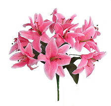 12 Tiger Lilies Lily ~ PINK ~ Silk Wedding Flowers Bridal Bouquets Centerpieces