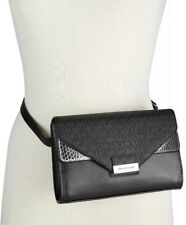 Michael Kors XL Signature Logo & Python-embossed Fanny Pack Black/silver NWTS
