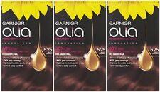 3 x Garnier Olia 5.25 Frosty Chestnut - Permanent Hair Colourant Dye No Ammonia