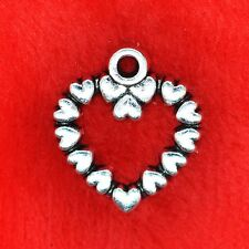 10 x Tibetan Silver Love Heart Edged Charm Pendant Jewellery Making