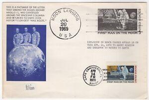 1969 Jul 20th. Commem. Cover. Moon Landing. Cape Canaveral Cancel 14/4/70.