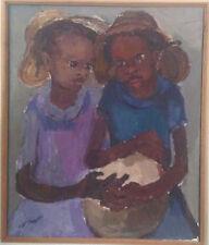 Carlo Jean-Jacques, Deux Enfants ; Huile sur toile avec cadre de 1980  55*65 cm