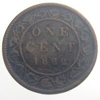 1882 H Canada One 1 Cent Large Penny Copper Circulated KM 7 Victoria Coin T396