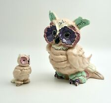 "Vintage Kay Finch California Pottery Owl Figurines Mother & Baby 8.5"" & 4"" H"