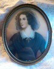 *NH* Antica miniatura dipinta a mano - nobildonna dipinto donna - ritratto dama