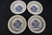 """4pc Dansk Stoneware BLUE FLORAL Flower Motif Brown Mist 7.5"""" Rim Cereal Bowls"""