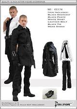 CC174 1/6 Clothing - Men Black Overcoat Full Set -Fits HOT TOYS,PHICEN,TTL Body