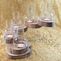 9 Tier Twist Teak Wood Tea Light Candle Holder Waxed Folds Away With Candles
