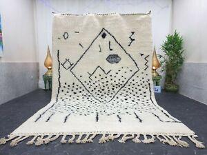 "Moroccan Handmade Beni Ourain Rug 6'8""x10' Berber Abstract White Black Wool Rug"