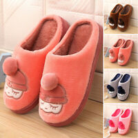 New Women Men Winter Warm Cute Slippers Soft Plush Indoor Couple Home Shoes Size