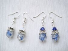 BLUE WHITE CLEAR Tulip Flower Twin Bead Drop Earrings Bell Matching Necklace