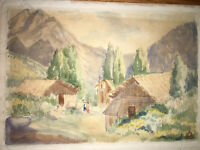 Beautiful WPA Era Art Deco Impressionist Watercolor Signed Possibly Herbert Day