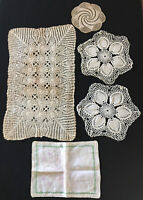 4 Vintage Doilies Runners Lace Crocheted & Hand-Embroidered Linen Cloth / Cover