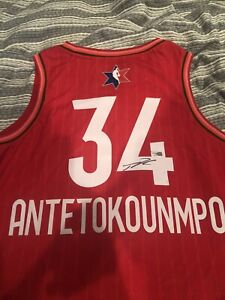 Giannis Antetokounmpo Autographed Red All Star Jersey 2020 (XL) (52)COA Included