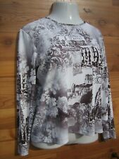 Chico's Gray Sepia White Print Top 2 M L Textured Poly Scoop Tee Great Britain
