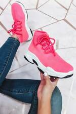 Cape Robbin Real Pink Neon Lace Up Platform Chunky Boyfriend Fashion Sneakers