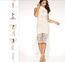 Quiz-Size 10 Cream and nude crochet high neck dress. Formal, Wedding Or Races.