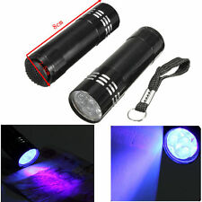 Lampe de Poche UV Torche  3x AAA Pile Aluminium UV Ultra Lumière Violet 9LED