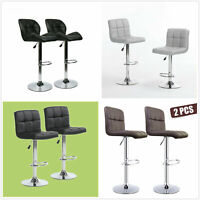 Set of 2 Bar Stools Adjustable Swivel Pub Counter Height Dining Chair Pu Leather