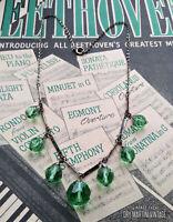 VINTAGE ART DECO 1920s 30s CHROME GREEN GLASS DROPPER NECKLACE SIGNED CZECH