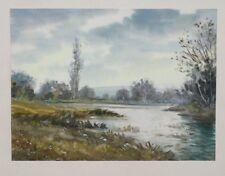 Dessin aquarelle gouache début 20ème vue sur un étang