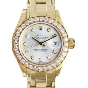 ROLEX Ladies 18kt Gold PearlMaster Silver Diamond MASTERPIECE 80298 SANT BLANC