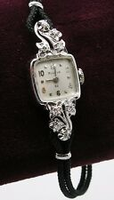 Vintage Ladies 14k White Gold Diamond Bulova 1940's Wind-up Watch