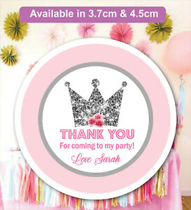 Personalised Princess Birthday Party Bag Stickers Sweet cone Labels MATT 24 & 35