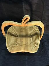 Vintage Collapsible Wood Spiral Cut Basket Apple Shaped Bowl with Handle