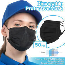 Black 50 Pcs Disposable Face Masks 3 Ply Non Medical Surgical Earloop Cover