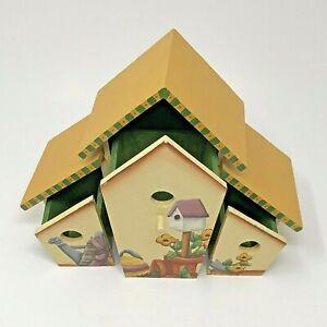 Birdhouse Storage Box Hand Painted Gardening Signed
