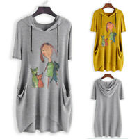 Women's Large Size Hooded Print Short Sleeve Irregular Casual Loose Top T-Shirt