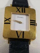 Women's Monet Watch Gold Square Roman Numeral Case White Dial Lizard Band Black