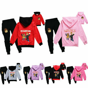 ROBLOX Boys Girls Tracksuit Zip Hooded Top Kids Outfit Sports Set Tops+Pants