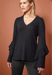 WITCHERY Frill Sleeve Knit, Black, Women's, Brand New!