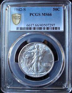 1942-S Walking Liberty Silver Half Dollar - PCGS MS 66 - Gold Shield