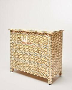 Handmade Bone Inlay Chest Of 5 Drawers Beautifully Crafted Home Decor Inlay Furn