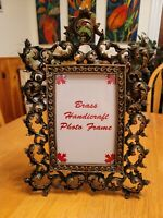 Antique Vintage Brass Ornate Gold  Victorian Picture Frame Easel 7 1/8 × 4  3/4
