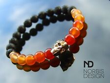 Men Carnelian/Lava Skull Bracelet with Swarovski Crystal 7-8inch Elasticated