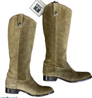 New FRYE Womens Melissa Button Riding cowboy suede Boot Cashew Size 8 M