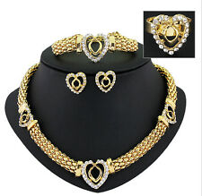 African Jewelry Sets 18K Gold Plated Crystal Statement Necklace Earrings Set