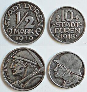 Notgeld! 10 Pfennig 1918 und 1/2 Mark 1919 Düren