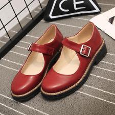 Retro Blockabsatz Damen Schuhe Rund Studentin Schuhe Schnalle Cosplay